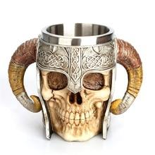 Creative Goat Horns Mug Helmet Skull Shaped Mug Stainless Steel Coffee Cup Rams Horn Beer Mug