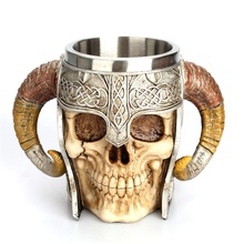Creative Goat Horns Mug Helmet Skull Shaped Mug Stainless Steel Coffee  Cup Rams Horn Beer Mug Tea Cup Bar Gift Viking Warrior