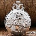 Motorcycle Silver Motorbike MOTO Pocket Watch Necklace Pendant Unisex Men Women Gift Relogio De Bolso