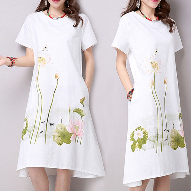 3dfdb42c75119 Detail Feedback Questions about White Pink Lotus Flower Linen Dress Big  Size Loose Summer Short Sleeve Simple Shirt Dresses Casual Crew Neck Midi  Beach ...