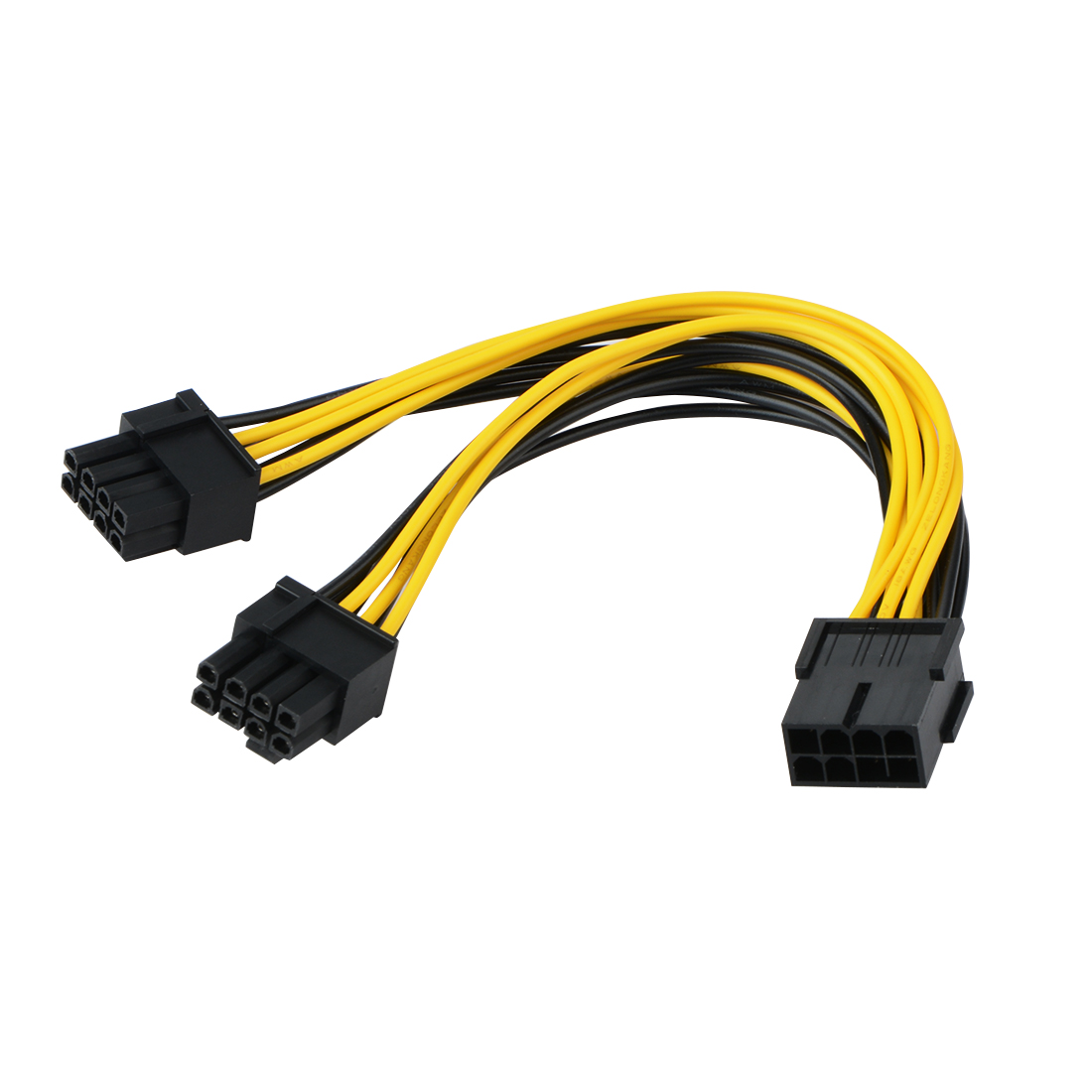 PCI-E PCIE 8 <font><b>Pin</b></font> Female Adapter To Dual Port 8P <font><b>6</b></font>+<font><b>2</b></font> Position Male Connector GPU Graphics Video Card Power <font><b>Extension</b></font> <font><b>Cable</b></font> image