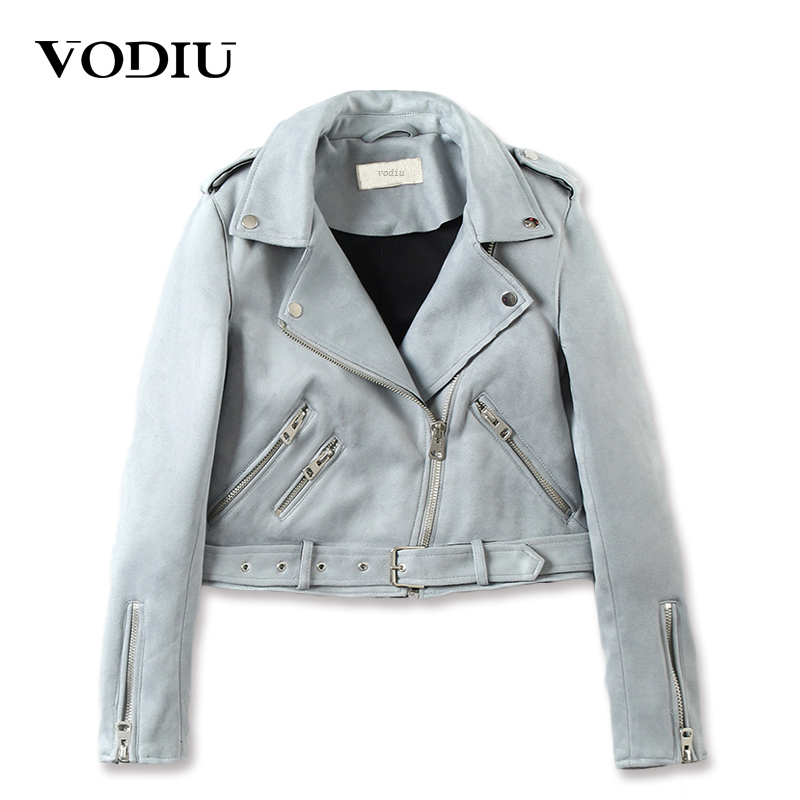Vodiu Coat Jacket Women Bomber Jacket   Leather     Suede   Coat Short Slim Zippers Jackets Female Sashes Faux   Leather   Jacket Moto Biker