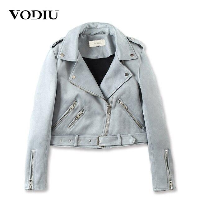 cdec661be93 Vodiu куртка Для женщин Курточка бомбер замшевые пальто короткие тонкие  молнии куртки женские пояса Искусственная кожа