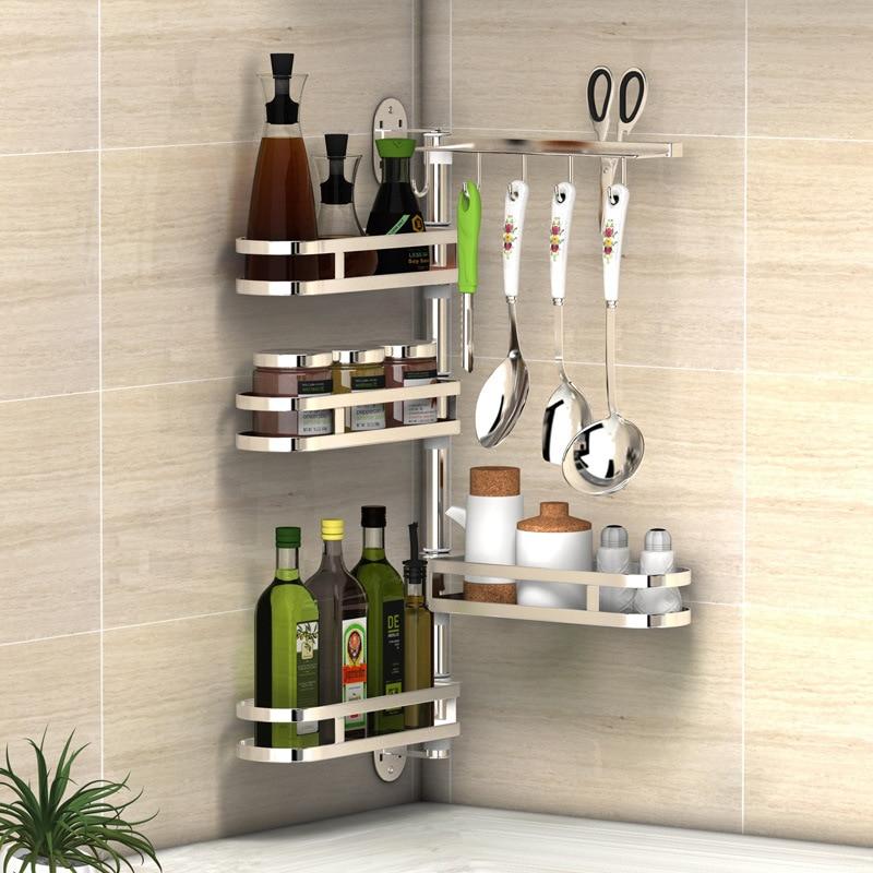 304 Stainless Steel Kitchen Shelf Wall Mounted Rack Organizer Tools Rotatable Spice Jar Storage Racks Kitchen Hanging Shelfs Полка