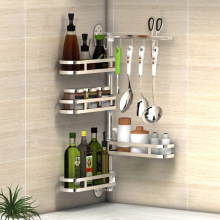 304 Stainless Steel Kitchen Shelf Wall Mounted Rack Organizer Tools Rotatable Spice Jar Storage Racks Kitchen Hanging Shelfs