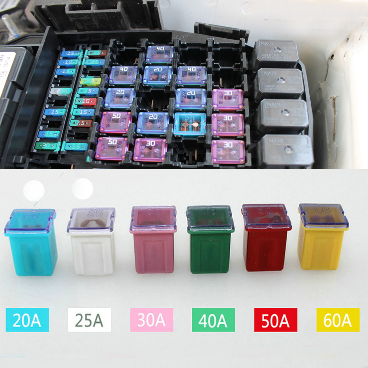 packing included 60 pcs fuse 10 x 60a yellow fuse 10 x 50a red fuse 10 x 40a green fuse 10 x 30a pink fuse 10 x 25a white fuse 10 x 20a blue fuse [ 1200 x 1200 Pixel ]
