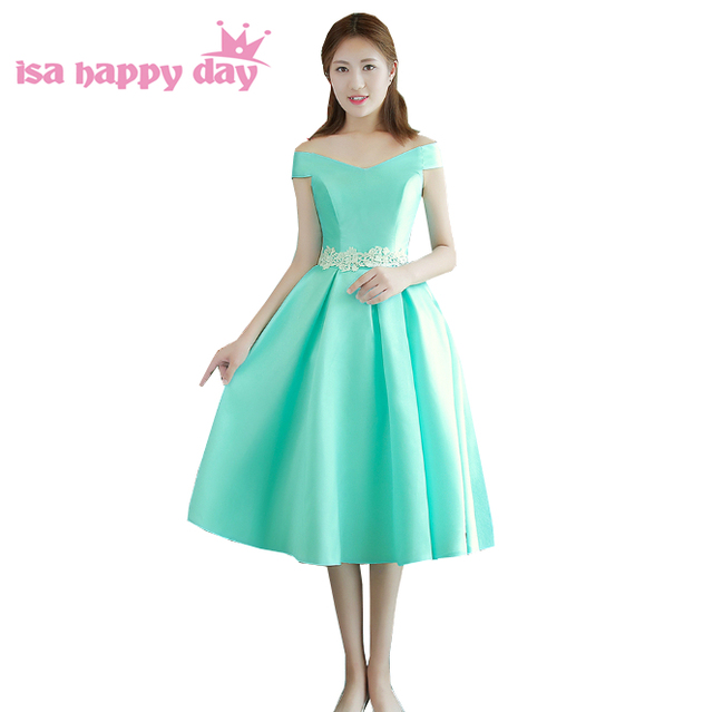 2017 robes de soiree new elegant puffy elegance latest prom short dress  formal satin dresses mint green ball gown H4135 8a31c48a66aa