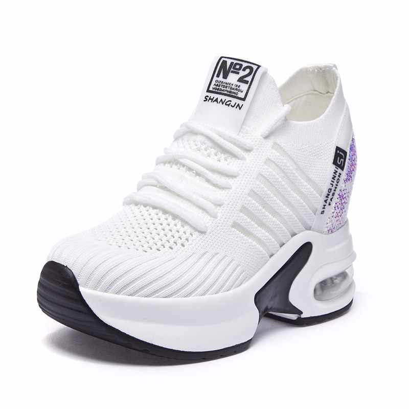 Outdoor Casual 5+3 Height Increasing Shoes Women Walking Sneakers 2019 New Breathable Comfortable Black and White