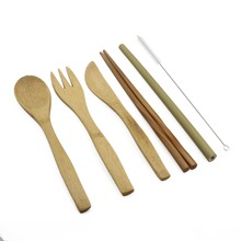 Japanese 6-Piece Portable Luxury Dinnerware and Wooden Cutlery Set