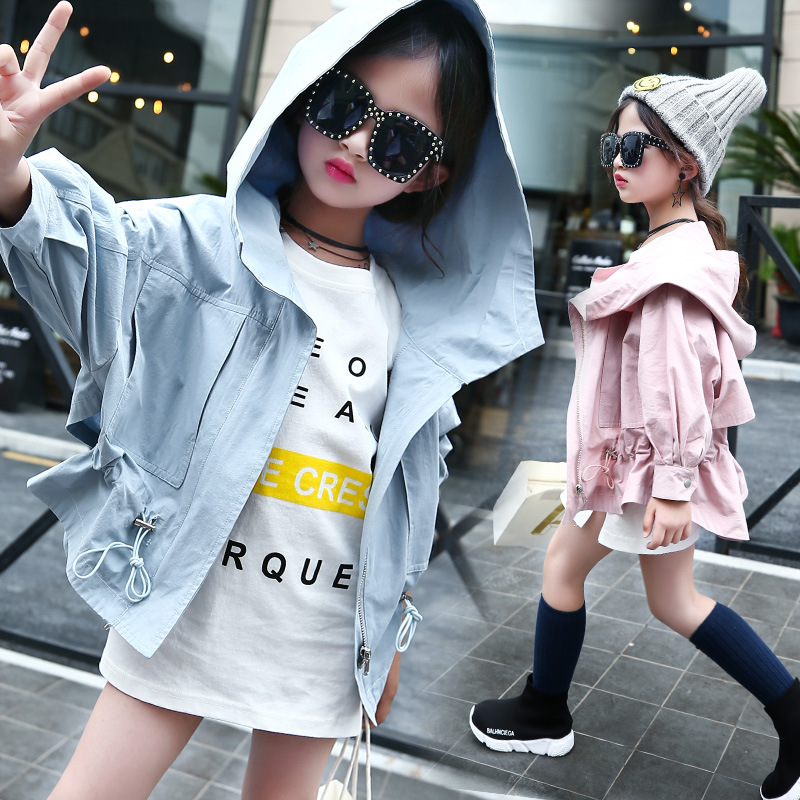 cotton little teenage girl spring autumn coats school children clothing hooded blue pink jackets trench coat casual kids clothes teenager girl dot trench coat outwear kids hooded clothes spring and autumn jacket children s clothing 15380421