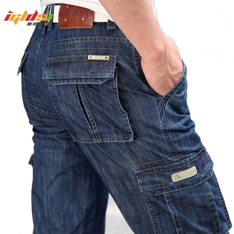 Men's Military Jeans Pants Workwear Multi-pockets Cargo Jeans Straight Motorcycle Denim Pants Casual Biker Long Trousers
