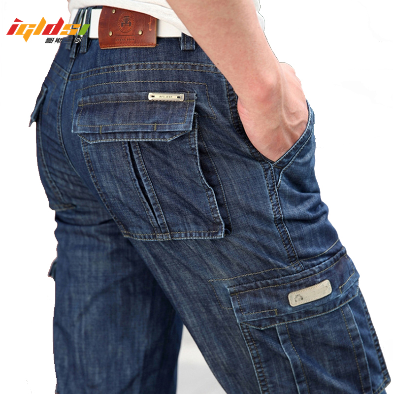 Men's Military Jeans Pants Workwear Multi-pockets Cargo Jeans Straight Motorcycle Denim Pants Casual Biker Long Trousers