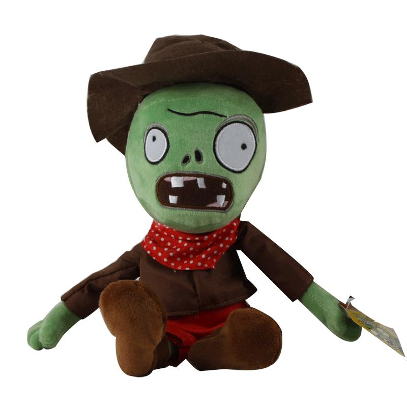New Arrival PVZ Plants vs Zombies 2 Stuffed Plush Toys 30cm Cowboy Green Zombies Soft Toy Doll Game Figure Statue Toys for Kids 1pc new arrival super mario bros green yoshi stuffed plush toys 30cm soft stuffed toys doll with tag for children retail
