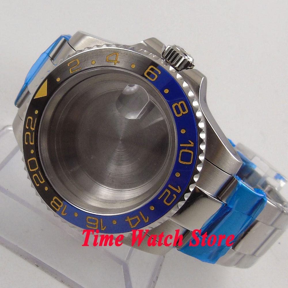Fit ETA 2824 2836 movement 40mm sapphire glass 316L stainless steel date window watch case with bracelet 120
