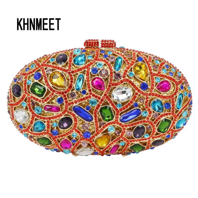 Oval Classic Multicolor Crystal Luxury Clutch Bag Women diamond handbags evening bag clutch party purse messages bag SC467 brand designer luxury crystal multicolor clutch bag women diamond evening bag golden oval wedding banquet purse handbags sc467