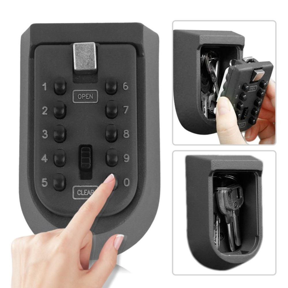 Outdoor Wall Mount Spare Key Safe Box Lock Holder Water Weatherproof Push Button Combination Mounted Key Storage Security Lock