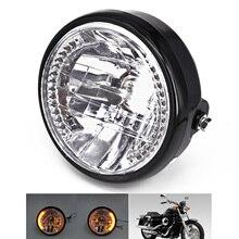 "7 ""Faróis motocicleta Âmbar Turn Signal Indicadores LED Para Harley Cafe Racer"