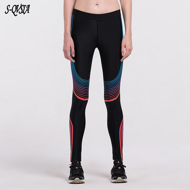 2017 Compress Women Sporting Leggings Fitness Workout Leggings All Season Thin Striped Printed Sporting Women Gymming Leggings