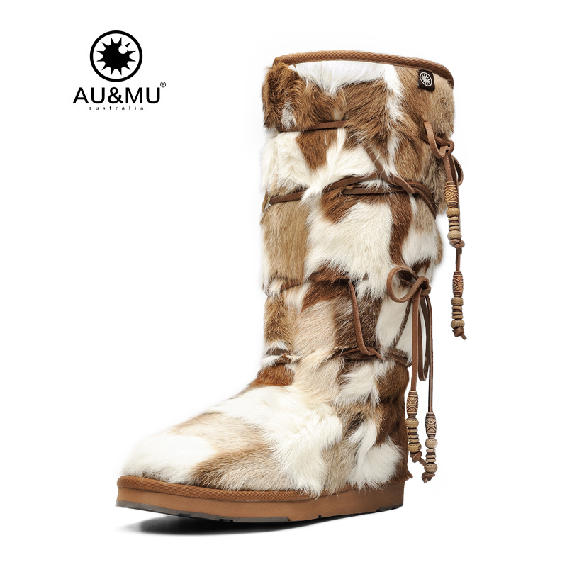 цены 2017 AUMU Australia Comfort Suede Fur Mid- Calf Flat Lace-up Round Toe Winter Snow Boots UG N728