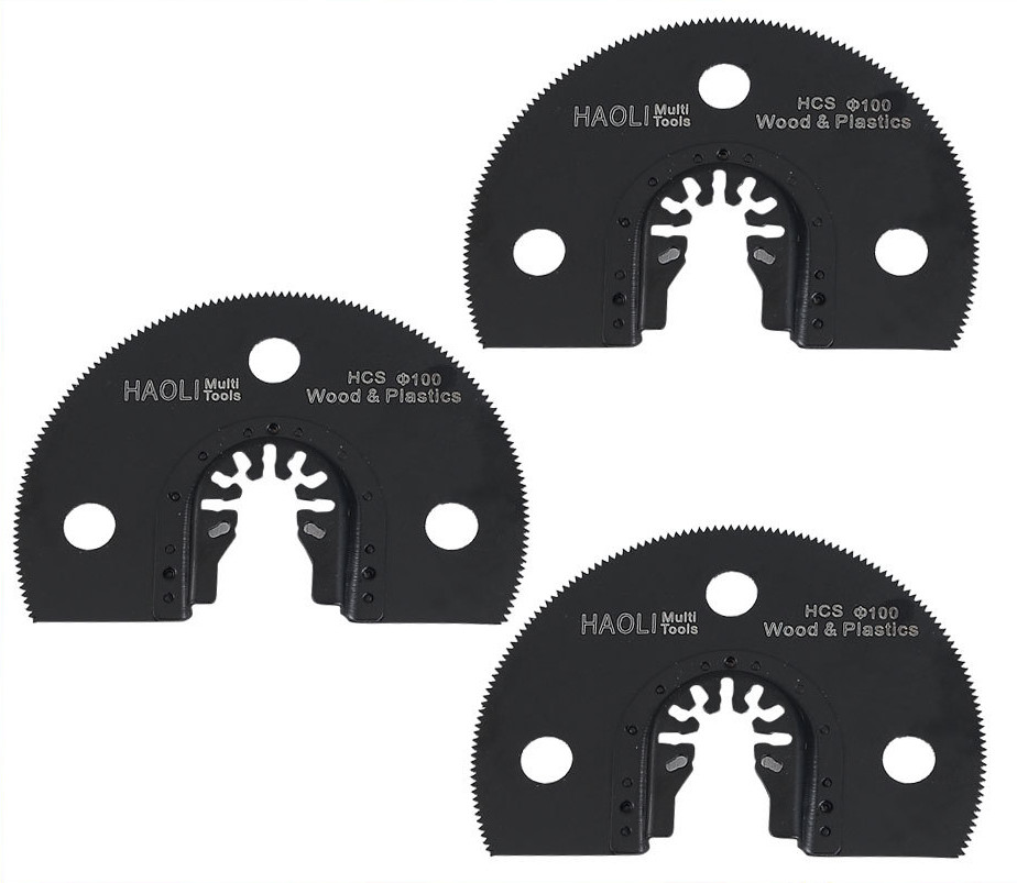 3 Pcs 100mm Half Circle Quick Change Oscillating Tool Saw Blade Accessories For Renovator Electric Tool As FEIN Multimaster,DIY