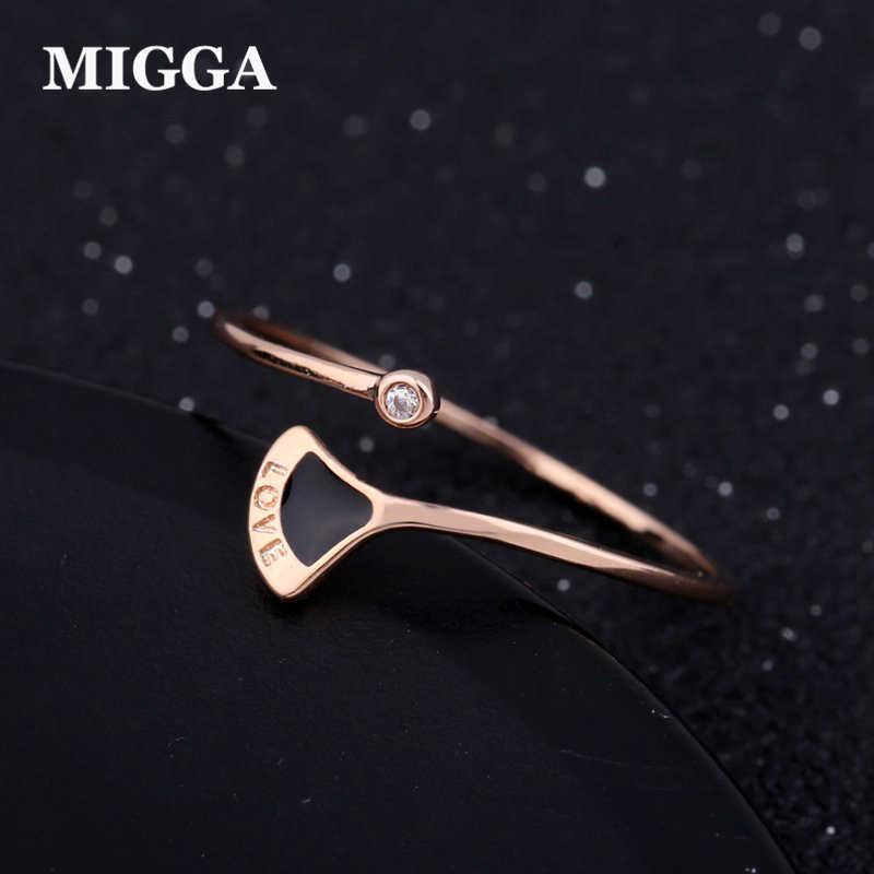MIGGA nouvel amour marqué noir secteur unique CZ cristal Bague ouverte conception or Rose couleur femmes filles Bague