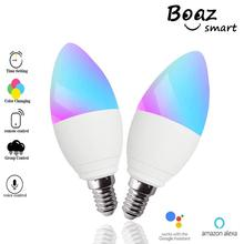Boaz E14 Bulb Smart Candle Light 5W RGBW E14 LED Candle Lamp Voice Control by Alexa Google Home Siri APP Remote Control No Hub