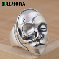 BALMORA 100 Real 990 Pure Silver Personalized Open Rings For Women Gift Punk Mask 990 Silver