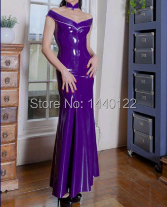 Sexy Latex Long Gowns For Women Purple Fetish Vestidos Club Wear Dresses  Plus Size Hot Sale Customize Service 31fe179ae35f