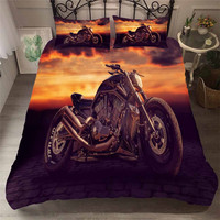 HELENGILI 3D Bedding Set Motorcycle Print Duvet Cover Set Bedcloth with Pillowcase Bed Set Home Textiles #MTC 07