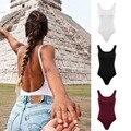 Mulheres Casual Em Torno Do Pescoço Sem Mangas Backless Sólidos Tanque Elástico Bodysuit
