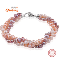 YinFeng Natural Mixed Color Pearl Bracelet Pure Handmade Bangle Freshwater Pearl With Real 925 Silver