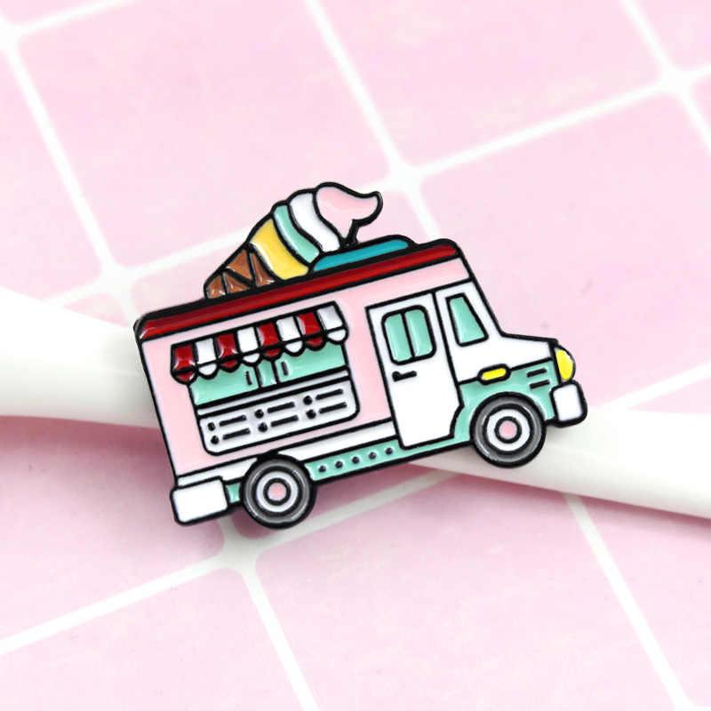 การ์ตูนรถสีชมพูเข็มกลัดผู้หญิงสีสันสดใส Sweet Ice Cream Truck Enamel Pin Denim แจ็คเก็ตปลอกคอป้ายไอคอนปุ่มเครื่องประดับ