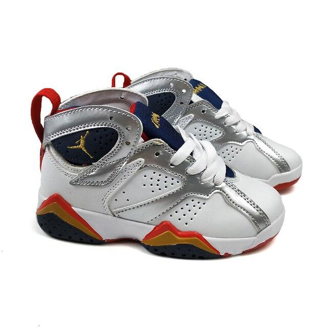 kids white black gold children AIR US JORDAN athletic 7 sport sneaker Boy & girl 7 Infant Baby Outdoor shoe New Sale