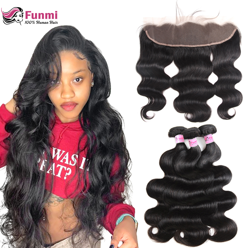 Brazilian Body Wave Bundles With Frontal Unprocessed Virgin Hair Bundles With Frontal Closure 3 Bundles Funmi Hair With Closure