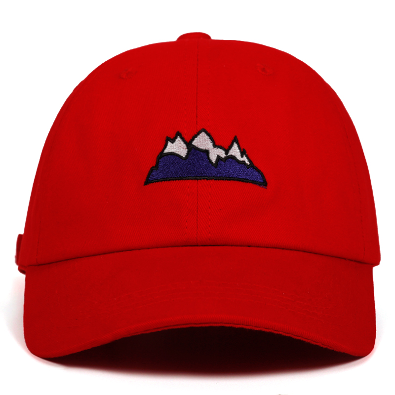 Snow Mountain Dad Hat Castle Peak Baseball Caps Primitive Human Embroidery Snapback Hats Unisex Holiday Red Cap 100% Cotton