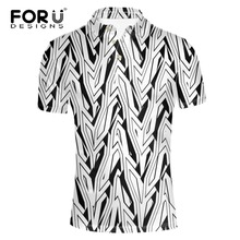 FORUDESIGNS 2017 New Arrival Summer Mens Classics Short Sleeve Slim Fit Male Trend Stripe Printing Dragon  Shirt for Men