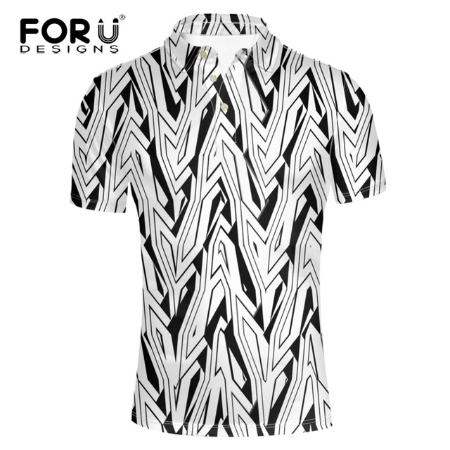 97d8196562c FORUDESIGNS 2017 New Arrival Summer Mens Classics Short Sleeve Slim Fit  Male Trend Stripe Printing Dragon Shirt for Men