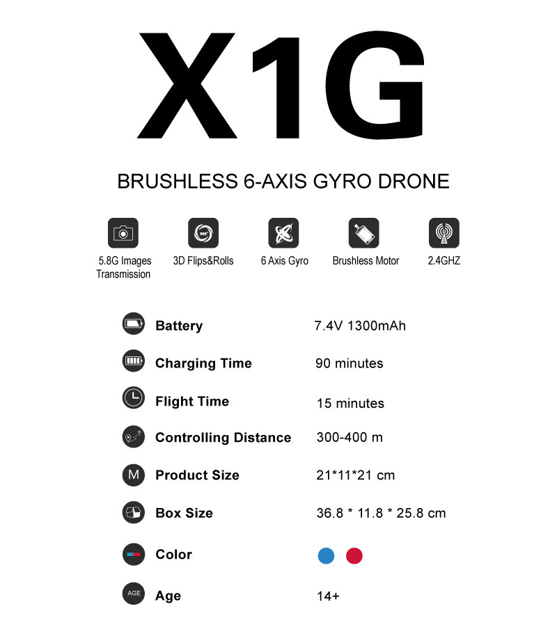 professional rc drone X1G Brushless motor 2.4G 6Axis with 5.8G FPV Camera remote control RC Quadcopter 300-400M Distance Drone