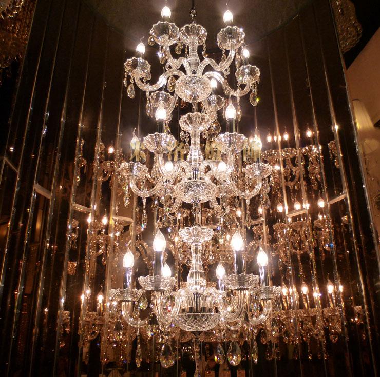 Modern Luxury 3 layer 18 Lights stair Long Crystal Chandelier Lighting Restaurant Hotel Hall villa chandelier