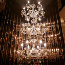 Современная роскошь 3 слоя 18 огни лестница длинная хрустальная люстра освещение ресторан отель зал для виллы канделябр