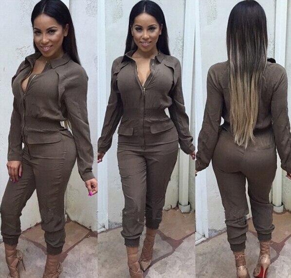 Lo nuevo Atractivo de Las Mujeres Gira el Collar Abajo Del Color Del Caramelo de Talle Alto Mono de La Manera Ocasional Pantalones Largos Regulares de Los Mamelucos Del Mono