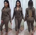 Newest Women Sexy Turn Down Collar Candy Color High Waisted Jumpsuits Fashion Casual Long Pants Regular Rompers Jumpsuits