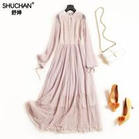 Shuchan Mesh Dress Lace Patchwork Suede 2019 Early Spring Mid calf Prairie Chic Fashionable Lady's Dresses Designers 8329