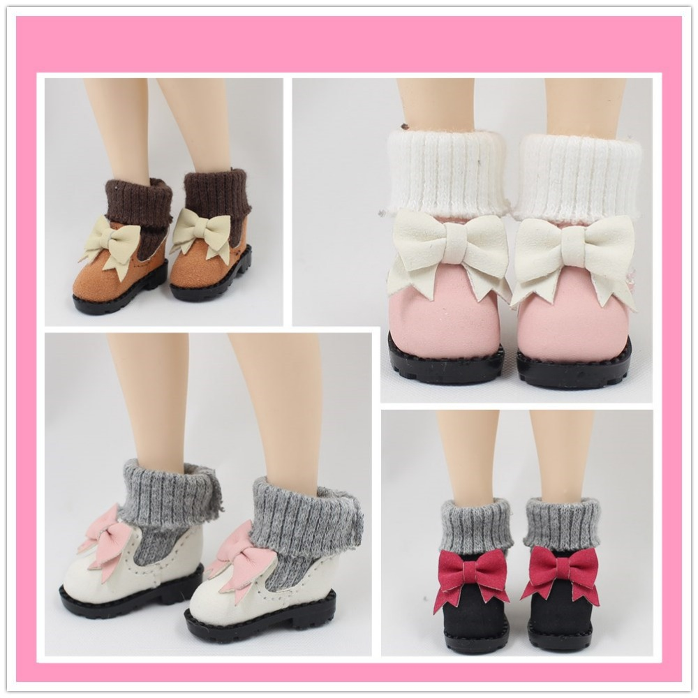 free shipping boots shoes for blyth doll icy cute bowknot gift toy length 2.9cm цена и фото