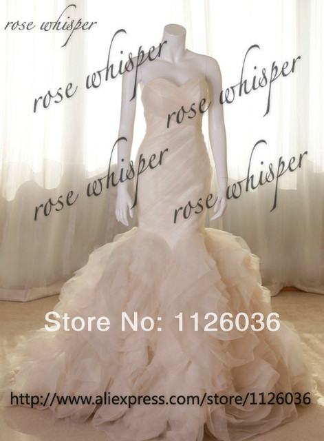 Real Photos Vera Wedding Dress Copy Sweetheart Pleated Top Ruffles Bottom Organza Mermaid Gown Bridal