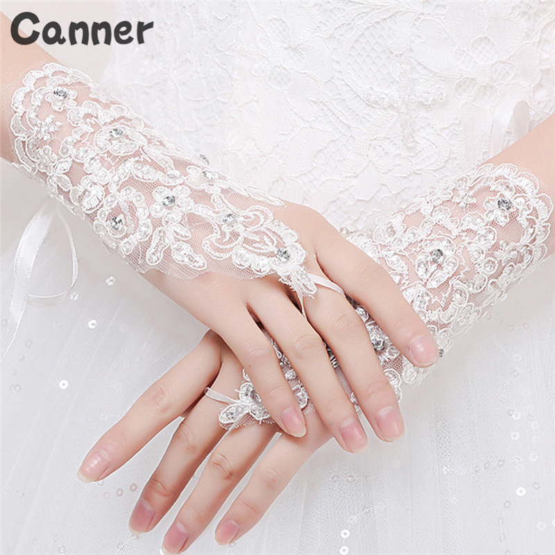 Canner Women Fingerless Bridal Gloves Elegant New Wedding Accessories White Red Lace Rhinestone Dress Gloves