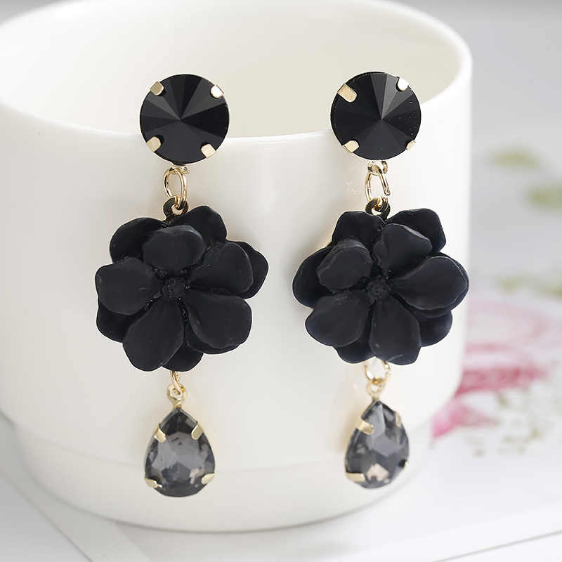 ez66 Vintage Boho Earring Black Crystal Big Dangle Earrings For Women Fashion Jewelry Green Flower Dangle Drop Earrings Bijoux