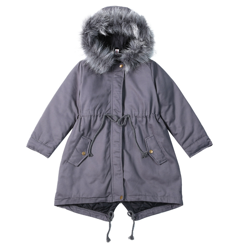 цена Leisure Outerwear Girls Winter Warm Hooded Coat Children Cotton-padded Clothes Forked Tail Cotton Clothes Fur Collar Kid Jackets