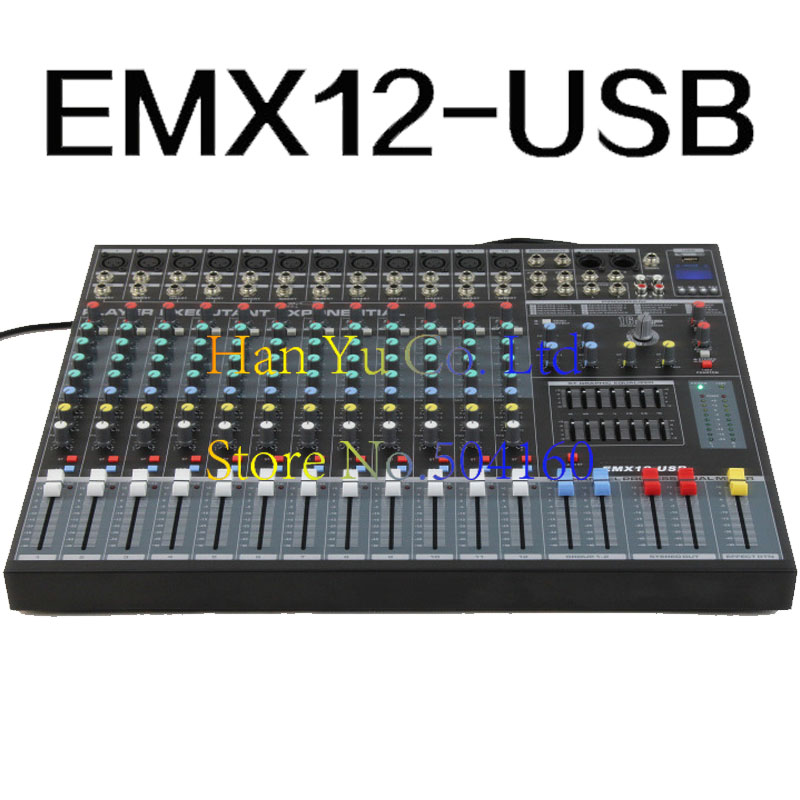 Professional 12 Channel Karaoke Audio Mixer Microphone Digital Sound Mixing Amplifier Console With USB 48V Phantom Power professional 4 channel live mixing studio audio sound console network anchor portable mixing device vocal effect processor