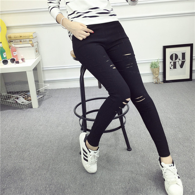 3xl плюс размер брюки женщины весна осень 2016 бермуды feminina черный белый отверстие леггинсы карандаш высокой талии брюки женский A1304